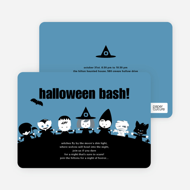 Monster Bash Halloween Party Invitations - Air Force Blue