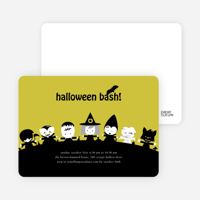 Monster Bash Halloween Party Invitations - Light Pear
