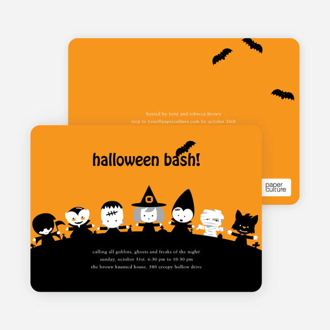 Monster Bash Halloween Party Invitations - Tangerine