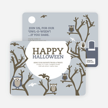 Owl and Graveyard Halloween Party Invitations - Blue
