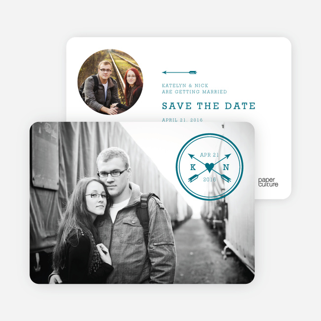 Shot Through the Heart Save the Date Cards - Blue