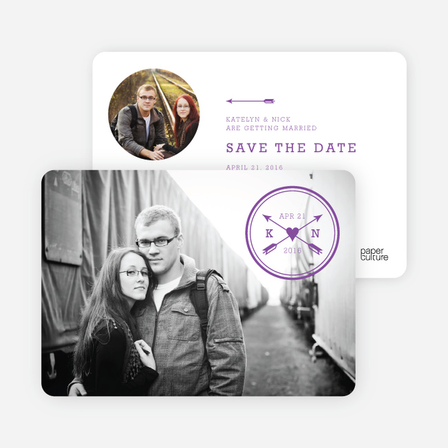 Shot Through the Heart Save the Date Cards - Purple