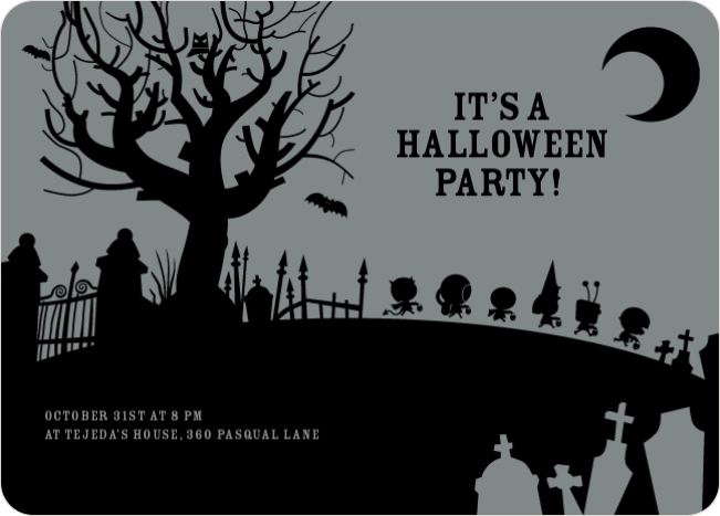 Spooky Cemetery Halloween Party - Gray