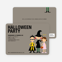Super Hero, Witch & Angel Halloween Party Invitations - Yellow
