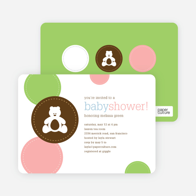 Teddy the Bear Baby Shower Invitations - Rich Brown