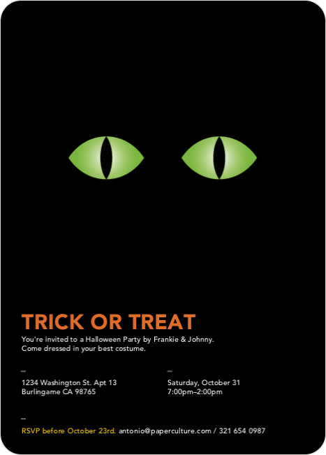 Trick or Treat Eyes Halloween Invitations - Pc Green