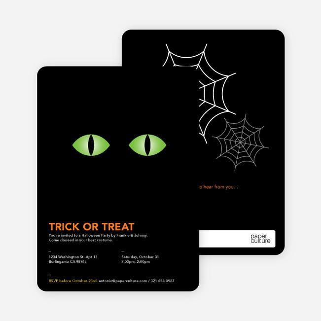 Trick or Treat Eyes Halloween Invitations - Pc Green