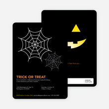 Trick or Treat Spider Webs Halloween Invitations - White