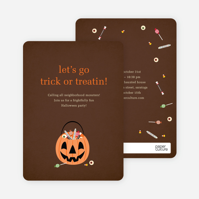 Trick or Treatin Halloween Party Invitations - Light Taupe