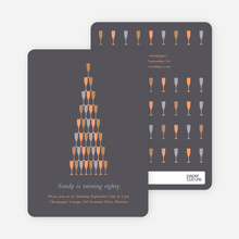 Wine Glasses and Champagne Bottles Party Invitations - Coal
