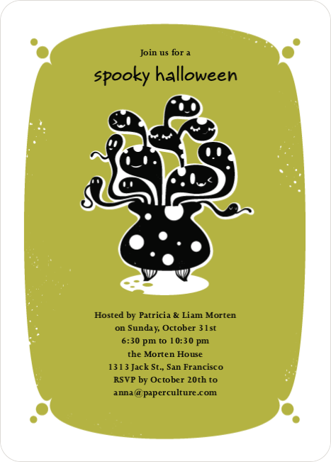 Witches Brewing Halloween Party Invitations - Light Fern