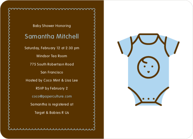 Blue Onesie Baby Shower Invitation - Baby Blue