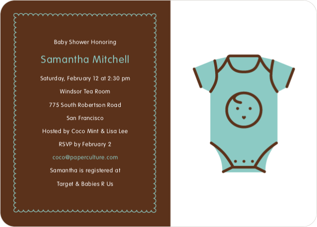 Blue Onesie Baby Shower Invitation - Blueberry Mist
