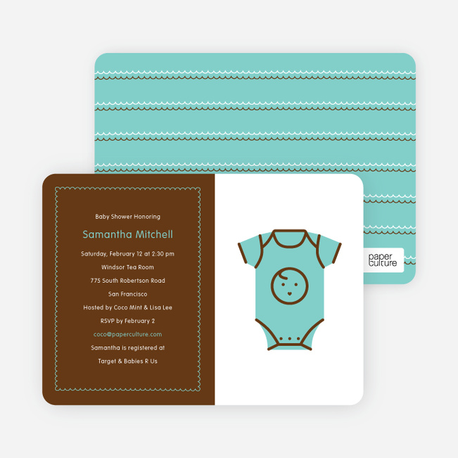 Blue Onesie Baby Shower Invitation - Blueberry Mist