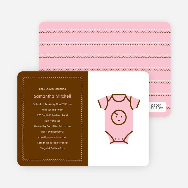 Pink Onesie Baby Shower Invitation - Soft Pink