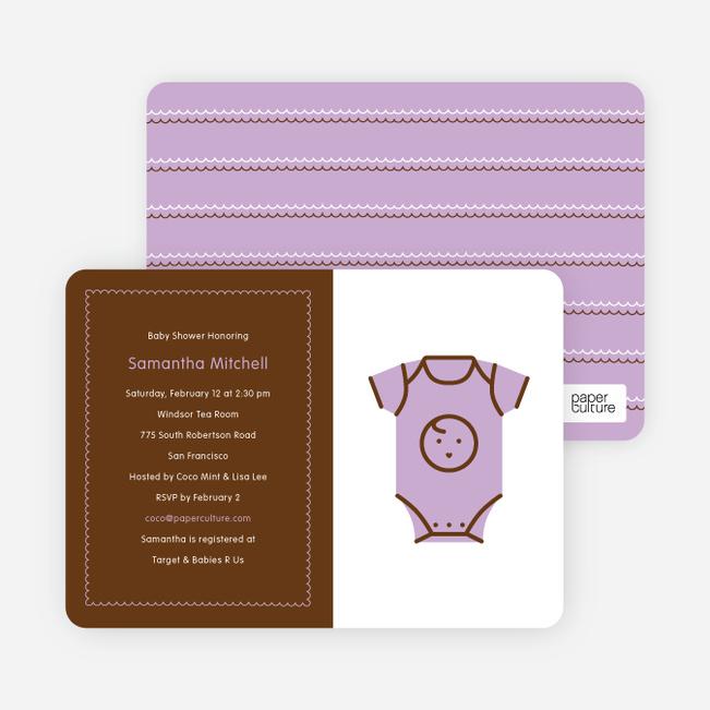 Purple Onesie Baby Shower Invitation - Lavender