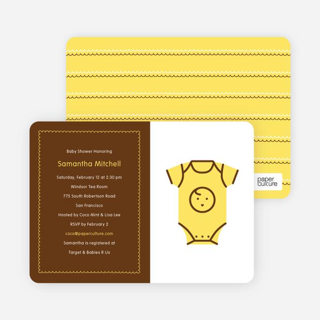 Yellow Onesie Baby Shower Invitation - Lemon Yellow