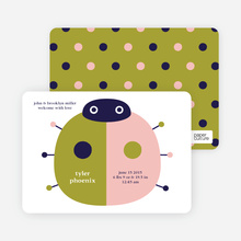 Birth Announcements: Modern Ladybugs - Olive Green