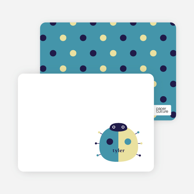 Personal Stationery for Twin Fold: Ladybug Twins Baby Announcement - Teal