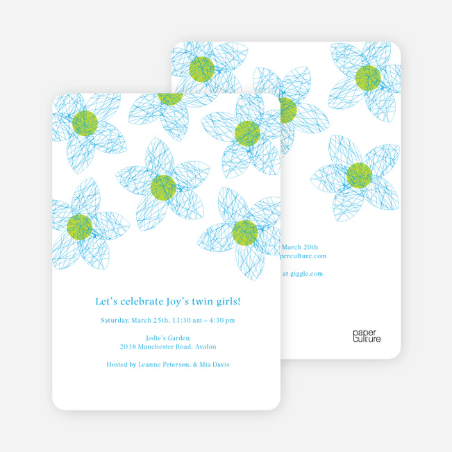 Twin Flowers Baby Shower Invitations - Royal Blue