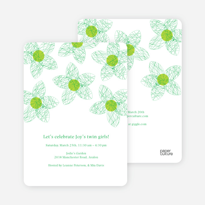 Twin Flowers Baby Shower Invitations - Emerald