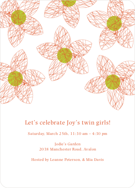 Twin Flowers Baby Shower Invitations - Cinnamon