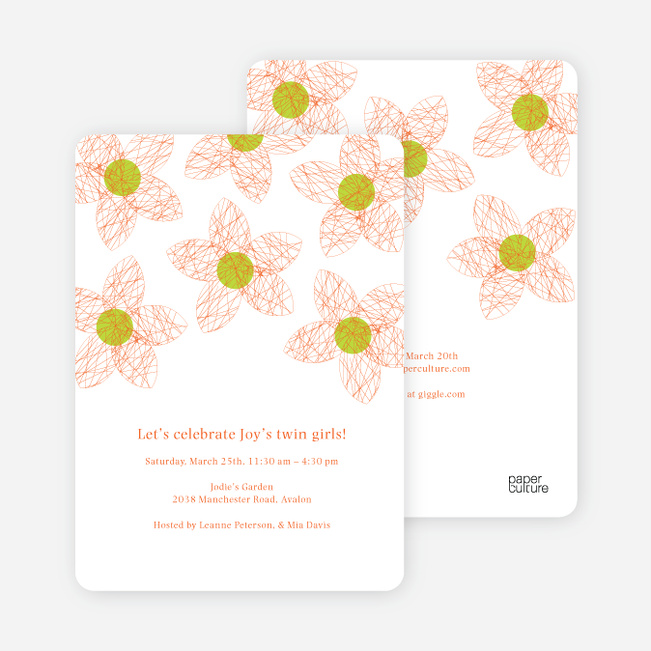 Twin flowers baby shower invitations paper culture filmwisefo