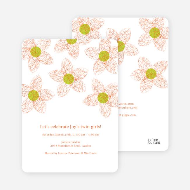 Twin Flowers Baby Shower Invitations - Cinnamon