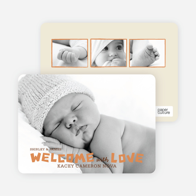 Baby Chaos Photo Birth Announcements - Mushroom