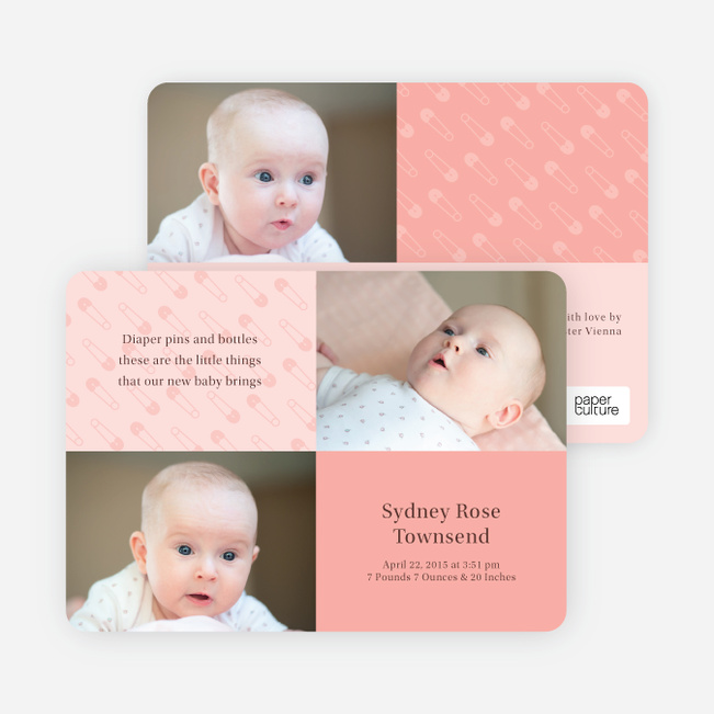 Birth Announcements with Baby Pins - Blush