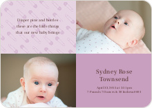 Baby Pin Announcements - Pale Wisteria