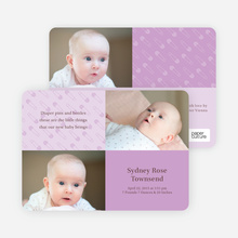 Birth Announcements with Baby Pins - Pale Wisteria