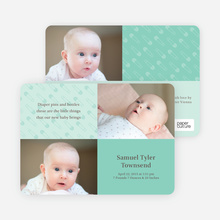 Birth Announcements with Baby Pins - Aquamarine