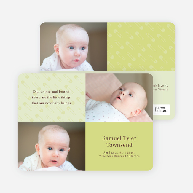 Baby pin Photo Birth Announcements - Pale Celadon