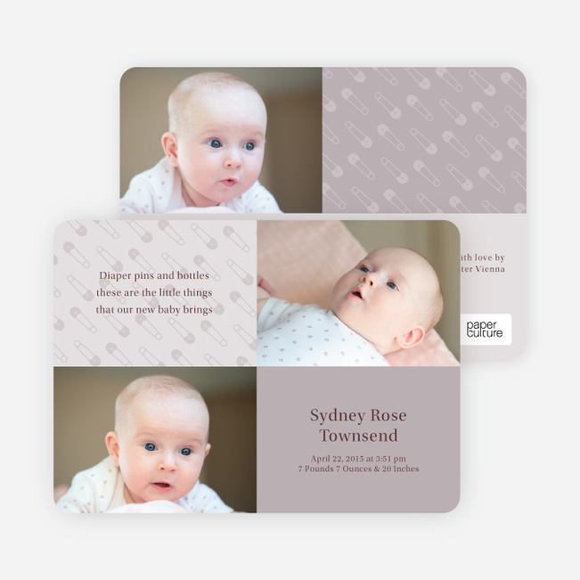Birth Announcements with Baby Pins - Light Grey