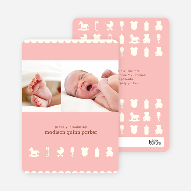 Baby Things 2 Photo Birth Announcements - Little Pinky