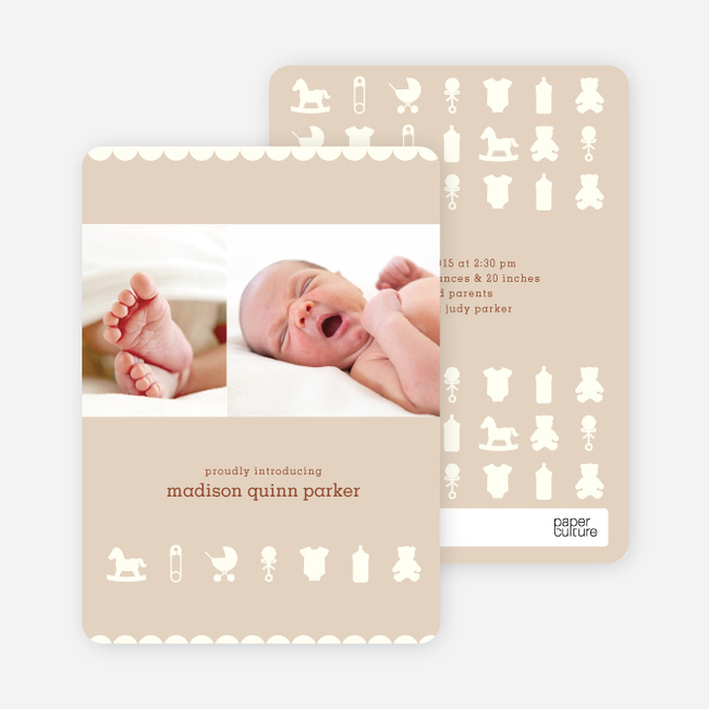 Baby Things 2 Photo Birth Announcements - Fresh Mocha