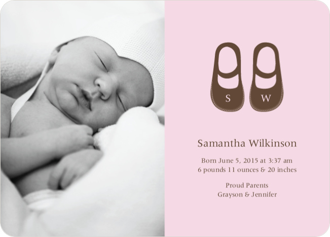 Baby's Got a New Pair of Shoes Photo Baby Announcements - Pink