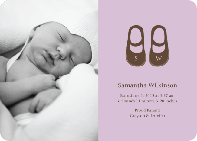 Baby's Got a New Pair of Shoes Photo Baby Announcements - Pale Violet