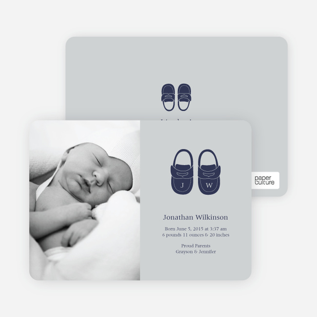 Baby's Got a New Pair of Shoes Photo Baby Announcements - Pale Gray