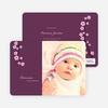 Cherry Blossom Modern Baby Announcement - Royal Purple