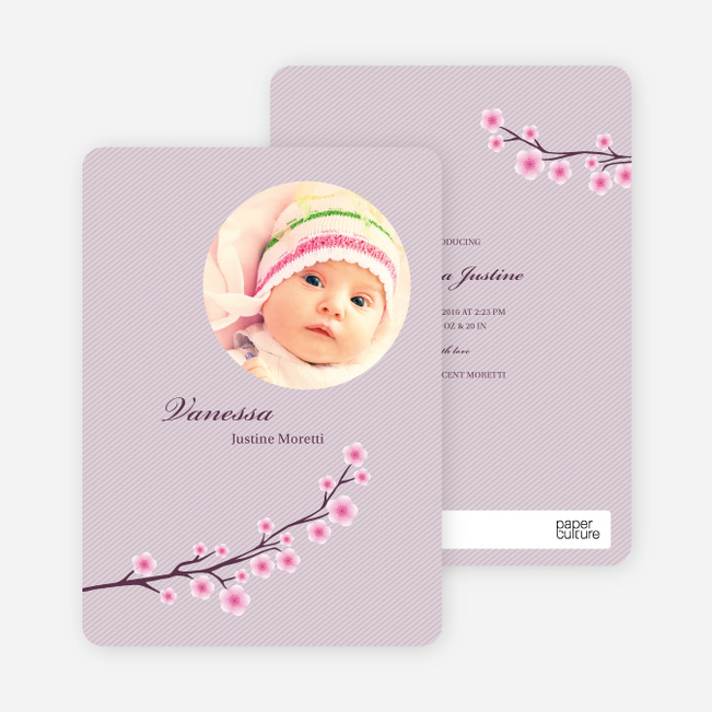 Cherry Blossom Modern Baby Announcement - Royal Purple
