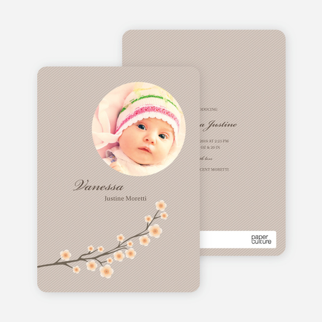Cherry Blossom Modern Baby Announcement - Peach