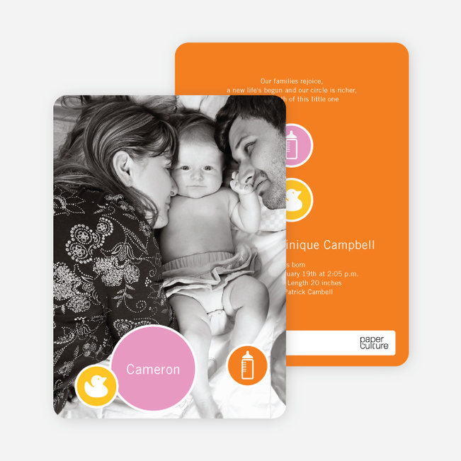 Cute Duckling Modern Baby Announcement - Bright Orange