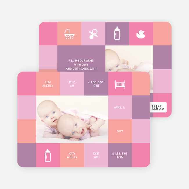 Double Trouble Twin Photo Birth Announcements - Shocking Pink