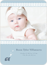 Elephant Lace Photo Birth Announcements - Blue Egg
