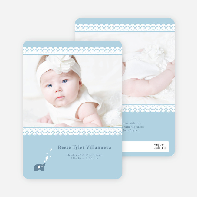 Lace Birth Announcements with Elephants - Blue Egg