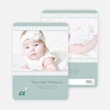 Elephant Lace Photo Birth Announcements - Green Sprout