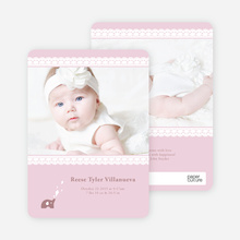 Lace Birth Announcements with Elephants - Pink Forever