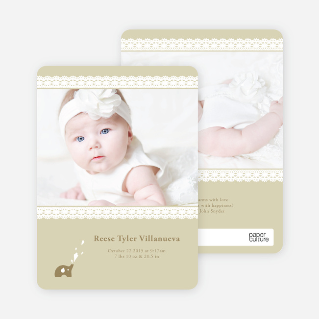 Lace Birth Announcements with Elephants - Mocha Coconut